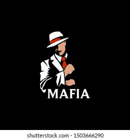 Mafia logo vector template. Man with red fedora hat and red tie