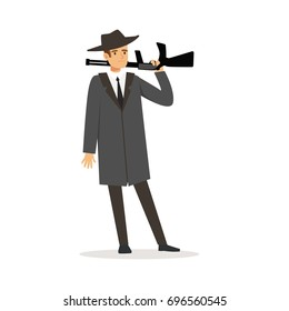 Mafia man character in gray coat and fedora hat standing with gun vector Illustration