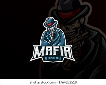 Mafia skull mascot sport logo design. Gangster skull mascot vector illustration logo. Skull mascot with gun, Emblem design for esports team. Vector illustration