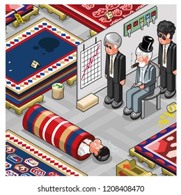 Mafiosi boss with two guards looking at captive, scene set in a carpet store (isometric vector)