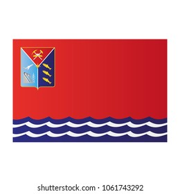 Magadan Oblast national flag on white background texture. Vector, illustration, symbol federal subject of Russia.