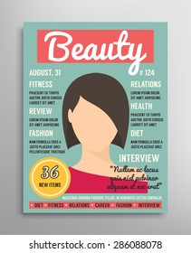 Magazine cover template about beauty, fashion and health for women. Vector illustration