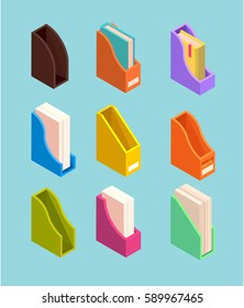 Magazine file isometric illustration. Vector set of different document folders. Collection of organizers for office papers or books