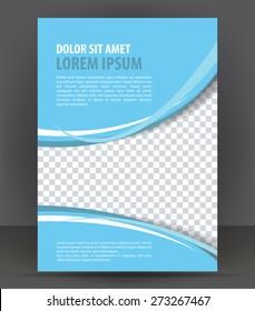 Magazine, flyer, brochure, booklet, cover layout design print template, light blue vector Illustration