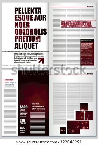 magazine layout design template 4 pages stock vector royalty free