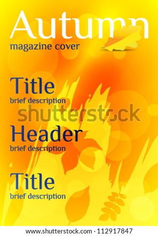 magazine layout design template autumn leaves stock vector royalty