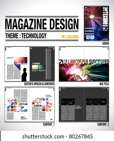 Magazine Layout Design Template with Cover + 8 pages (4 spreads) of Contents Preview.