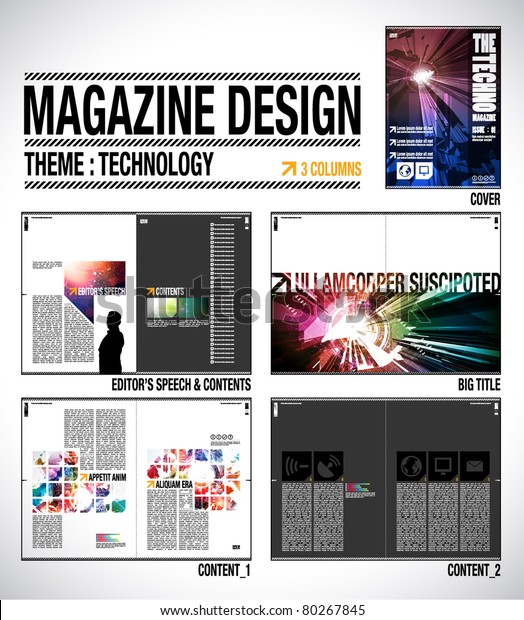 Magazine Layout Design Template Cover 8 Stock Vector Royalty Free