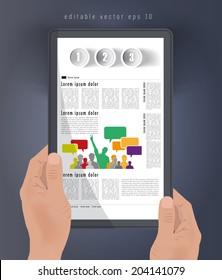 Magazine layout. Tablet presentation, Vector