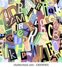 Magazine letters collage. Seamless vector pattern.