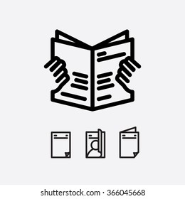 Magazine open page vector. Journal icon. Magazine in hand.