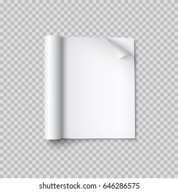 Magazine with rolled white pages isolated on transparent background. Vector open blank book, catalog or brochure with turned up paper sheets mockup.