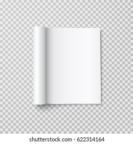 Magazine with rolled white paper pages isolated on transparent background. Vector open blank book, catalog or brochure with folded sheets mockup.