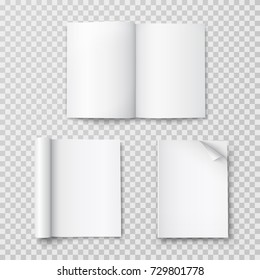 Magazine with rolled white paper pages isolated on transparent background. Vector open blank book, catalog or brochure with turned sheets mock up.