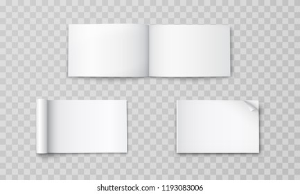 Magazine set template isolated on transparent background. Vector open blank book, catalog or brochure with turned sheets mock up. Landscape magazines with rolled white paper pages mockup.