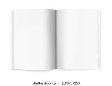 Magazine spread mockup isolated on white background. Vector illustration. Open notepad with realistic light and shadow on page. Sketchpad empty template. Blank clear paper note. Journal model top view