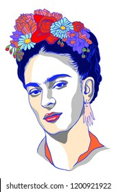 Magdalena Carmen Frida Kahlo  born 6 July 1907 – 13 July 1954, was a Mexican artist who painted many portraits, self-portraits, and works inspired by the nature and artifacts of Mexico.