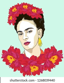 Magdalena Carmen Frida Kahlo born 6 July 1907 – 13 July 1954, was a Mexican artist who painted many portraits, self-portraits. She was married to Diego Rivera, also a well-known painter.