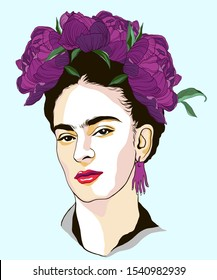 Magdalena Carmen Frida Kahlo portrait with wreath from peonies