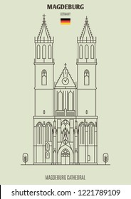 Magdeburg Cathedral in Magdeburg, Germany. Landmark icon in linear style