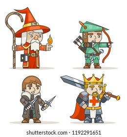 Mage warlock archer sharpshooter warrior king thief fantasy medieval action game RPG character isolated icon vector illustration