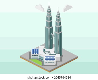 Magelang, Indonesia - March 14th 2018. An isometric vector illustration is created by me. It represents Petronas Twin Tower of Kuala Lumpur, the landmark of Malaysia. This is a modern building.