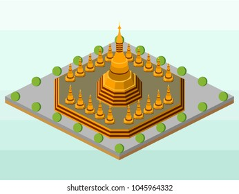 Magelang, Indonesia - March 14th 2018. An isometric vector illustration is created by me. It represents Shwedagon Pagoda, the landmark of Myanmar. This is a religious symbol.