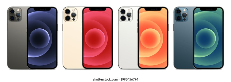 MAGELANG, INDONESIA - MARCH 18, 2021: New iPhone 12 pro or pro max by Apple Inc. Screen iphone and back side iphone. Vector illustration