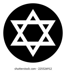 Magen David symbol button on white background. Vector illustration.