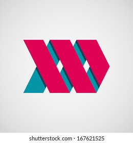 Magenta abstract right ribbon arrow sign with flat designed shadow and light background for internet sites, user interfaces (ui), applications (apps) and business presentations. Vector illustration.