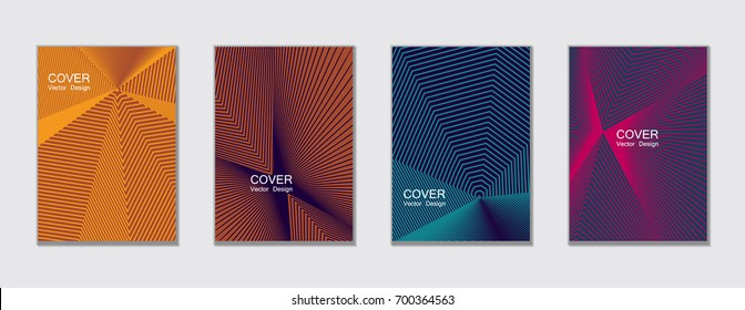 Magenta, blue and orange halftone vector cover template with lines. Title places. Vector journal design covers geometric shape background set, halftone lines hipster pattern abstract collection.