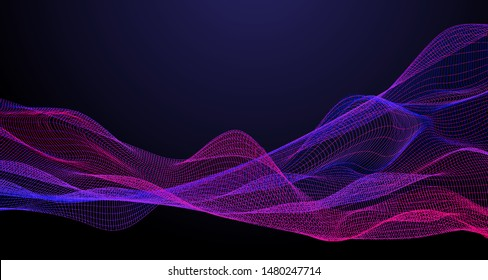 Magenta blue wavy corpuscle particles surface on dark background. Technology or science abstract banner. Dots waves with DOF effect vector illustration. Corpuscle particles noise sound wave surface.