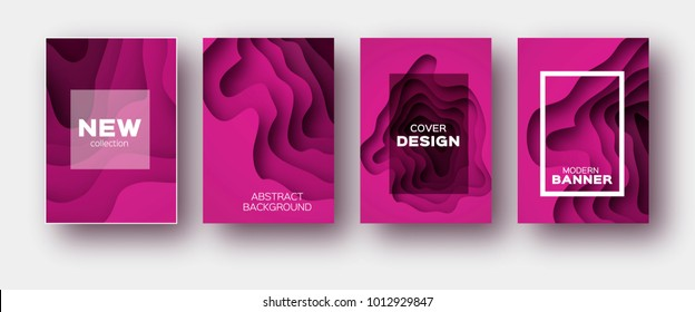 Magenta Paper Cut Wave Shapes. Layered curve Origami design for business presentations, flyers, posters. Set of 4 vertical banners. 3D abstract map carving. Text. Frame.