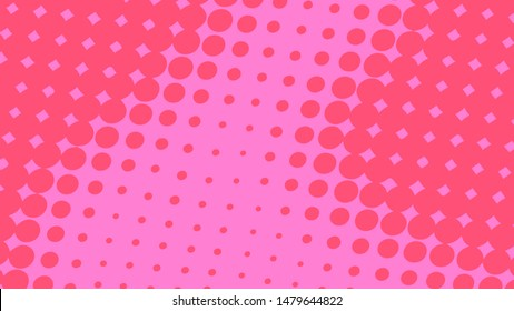 Magenta and pink pop art background in retro comic style with halftone dots design with white lines