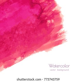 Magenta, pink, rose marble watercolor vector texture background with dry brush stains, strokes, spots isolated on white. Abstract frame, place for text or logo. Acrylic hand painted pours, fluid art.