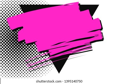 Magenta Smudges Overlapping Black Upside Triangle against Dotted Background. Scratch Mark Passing Over Solid Black Trigone. Crimson Smeared on Surface with Brush.