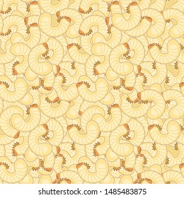Maggot pattern seamless. Beetle larva background. Insect vector texture
