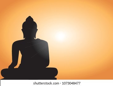 Magha Asanha Visakha Puja Day , Silhouette Buddha on golden sunset background. Vector illustration,