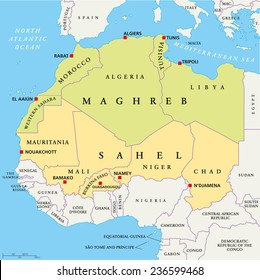 Maghreb and Sahel Political Map with capitals and national borders. English labeling and scaling.