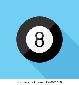 Magic 8 ball icon. Flat design style modern vector illustration. Isolated on stylish color background. Flat long shadow icon. Elements in flat design.