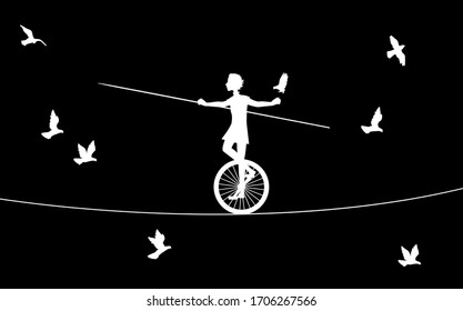magic acrobat, boy silhouette on uniwheel on the rope with flying pigeons, circus on the heavens,