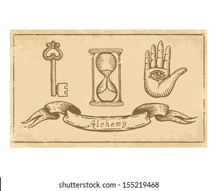 Magic alchemical Symbols in old yellow paper