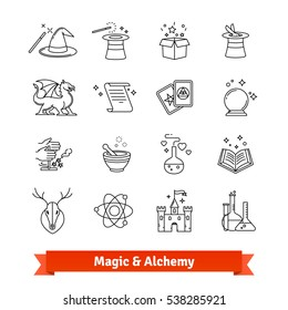 Magic & Alchemy thin line art icons set. Fairy tale, fantasy, fiction books. Linear style symbols isolated on white.