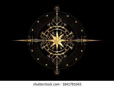 Magic ancient viking art deco, wind rose magic navigation compass ancient. Gold Compass navigation dial, widely used in Viking society. Logo icon Wiccan esoteric sign, golden vector isolated on black