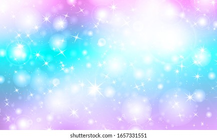 Magic background. Kawaii colorful backdrop. Holographic sky in pastel color. Bright mermaid pattern in princess colors. Vector illustration. Unicorn rainbow background.