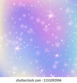 Magic background with rainbow mesh. Colorful universe banner in princess colors. Fantasy gradient backdrop with hologram. Holographic magic background with fairy sparkles, stars and blurs.
