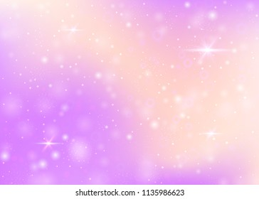 Magic background with rainbow mesh. Girlish universe banner in princess colors. Fantasy gradient backdrop with hologram. Holographic magic background with fairy sparkles, stars and blurs.