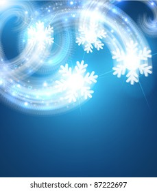 Magic Background with snowflakes for winter Christmas background