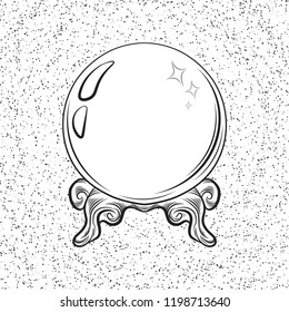 Magic ball, crystal ball, clairvoyance. Black and white drawing, engraving