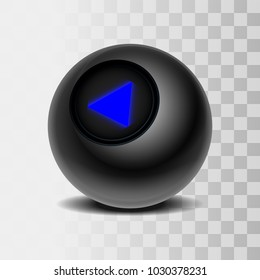 The magic ball of predictions for decision-making. Realistic black Ball isolated on a transparent background. Vector illustration EPS 10